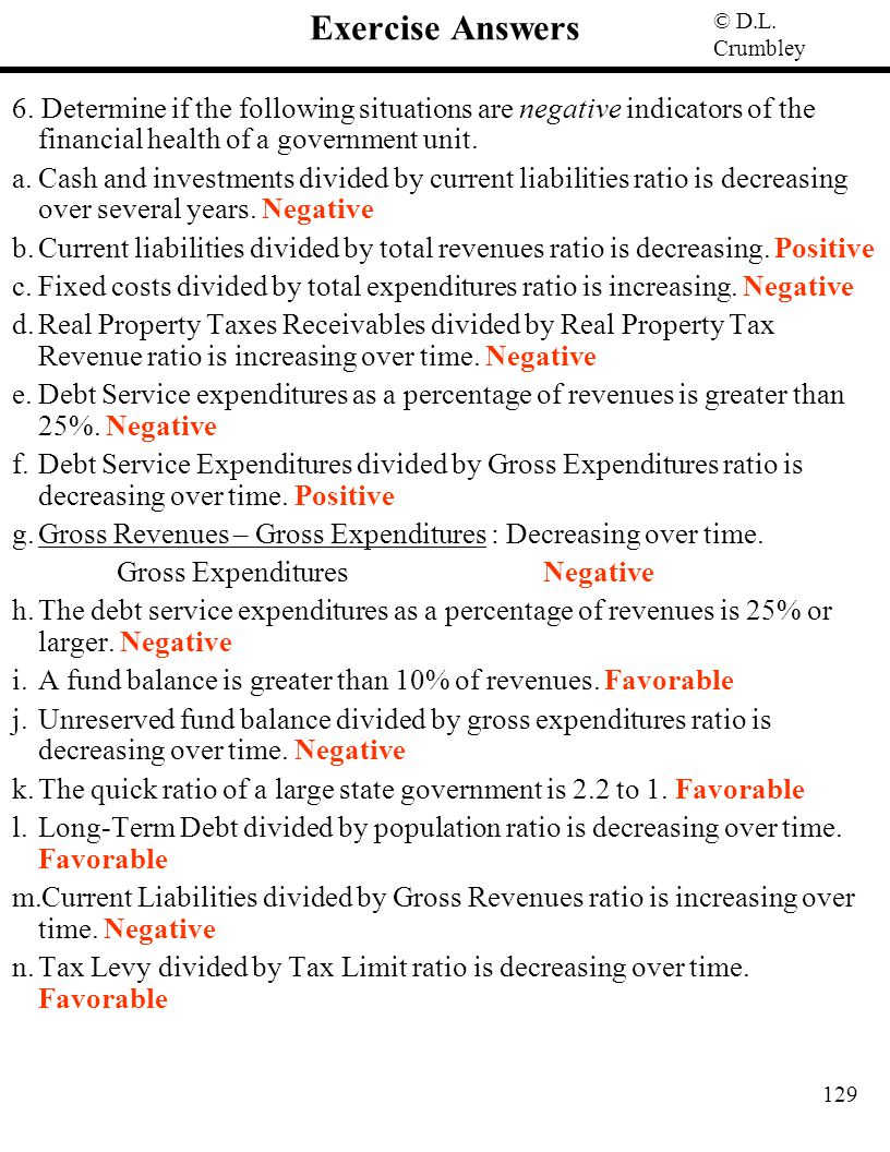 Exercise Answers 6. Determine if the following situations are negative indicators of the financial health of a government unit.