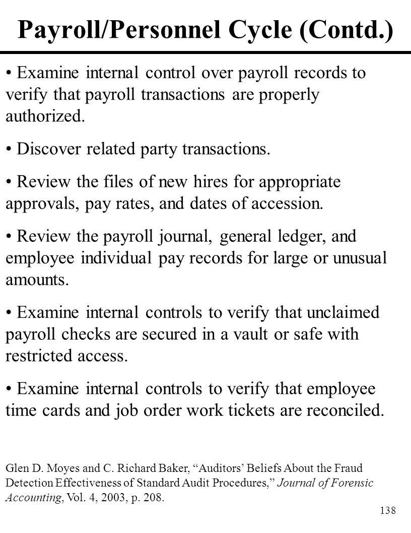 Payroll/Personnel Cycle (Contd.)