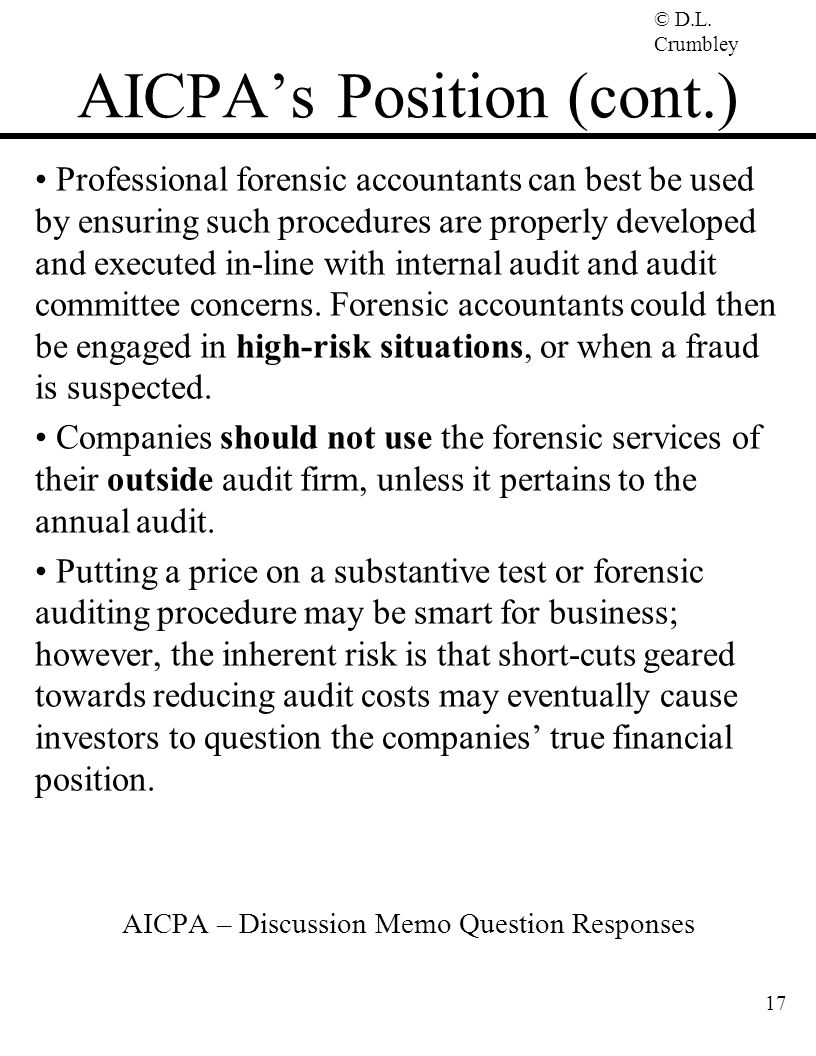 AICPA's Position (cont.)