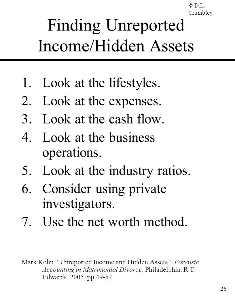 Finding Unreported Income/Hidden Assets