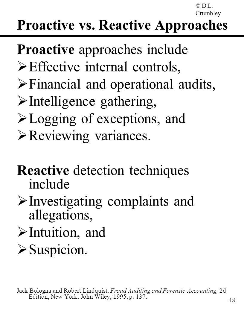 Proactive vs. Reactive Approaches