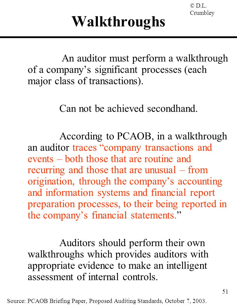 Walkthroughs An auditor must perform a walkthrough of a company's significant processes (each major class of transactions).