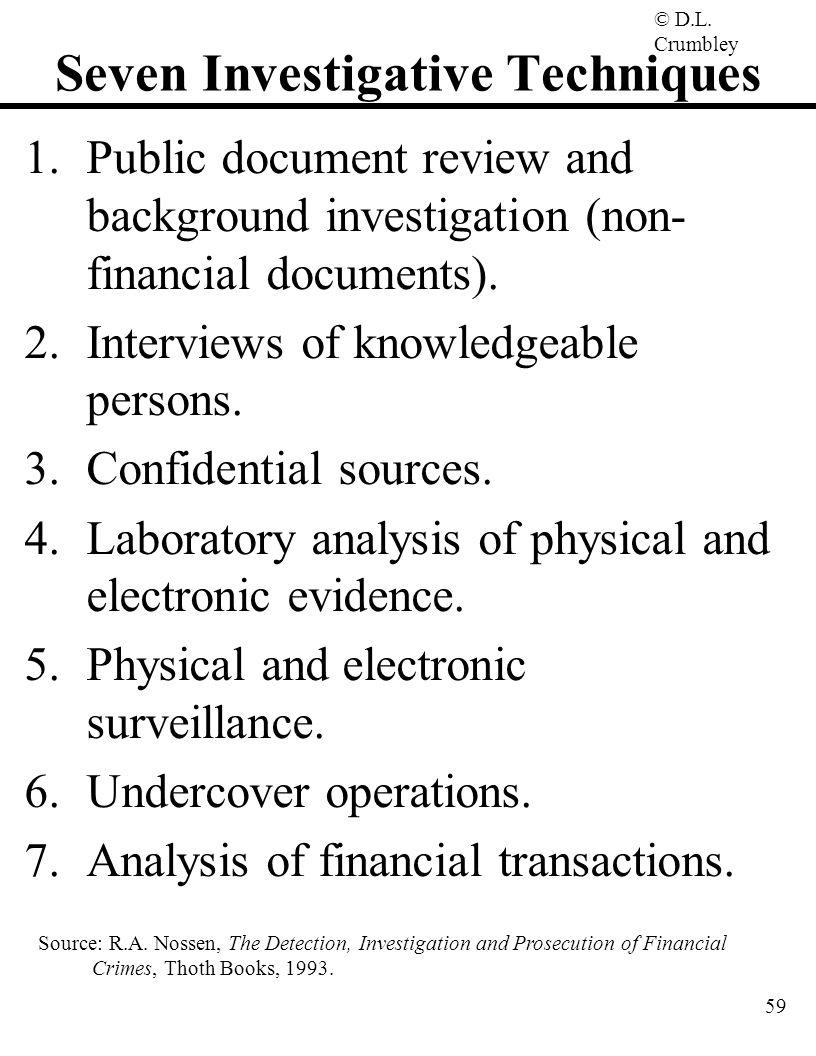 Seven Investigative Techniques