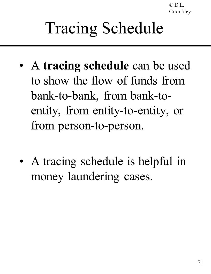 Tracing Schedule