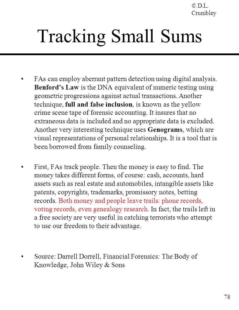 Tracking Small Sums