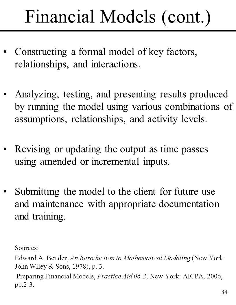 Financial Models (cont.)