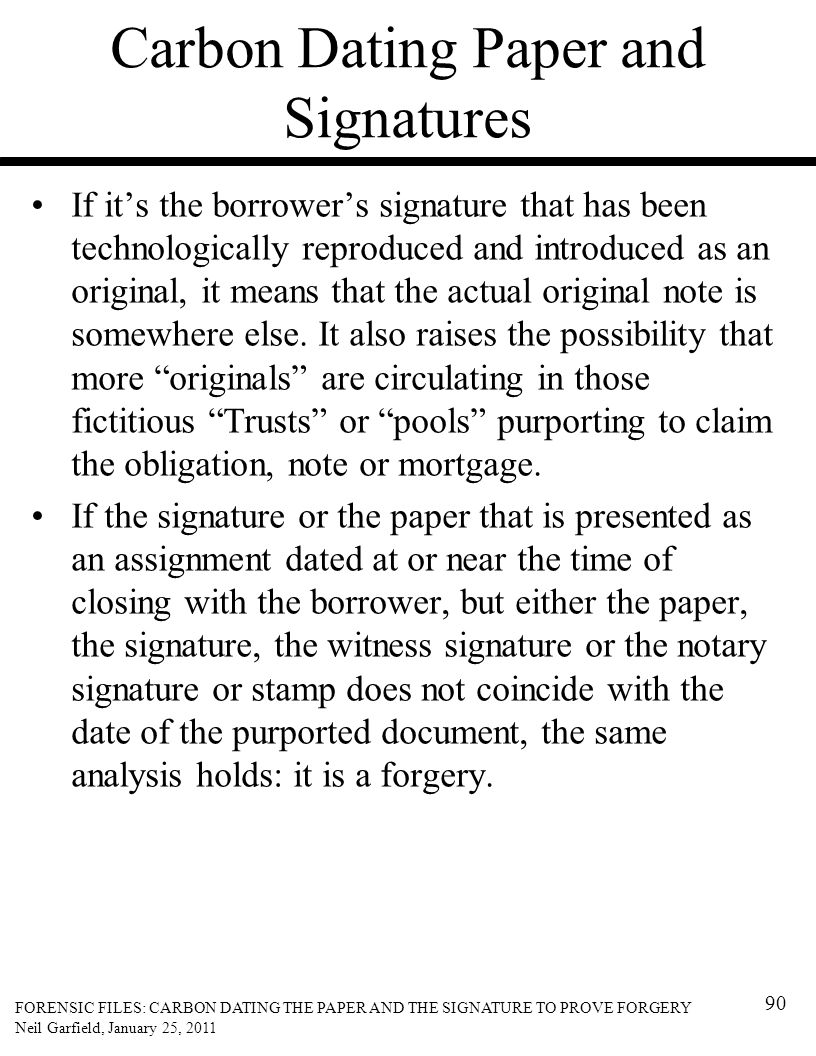 Carbon Dating Paper and Signatures