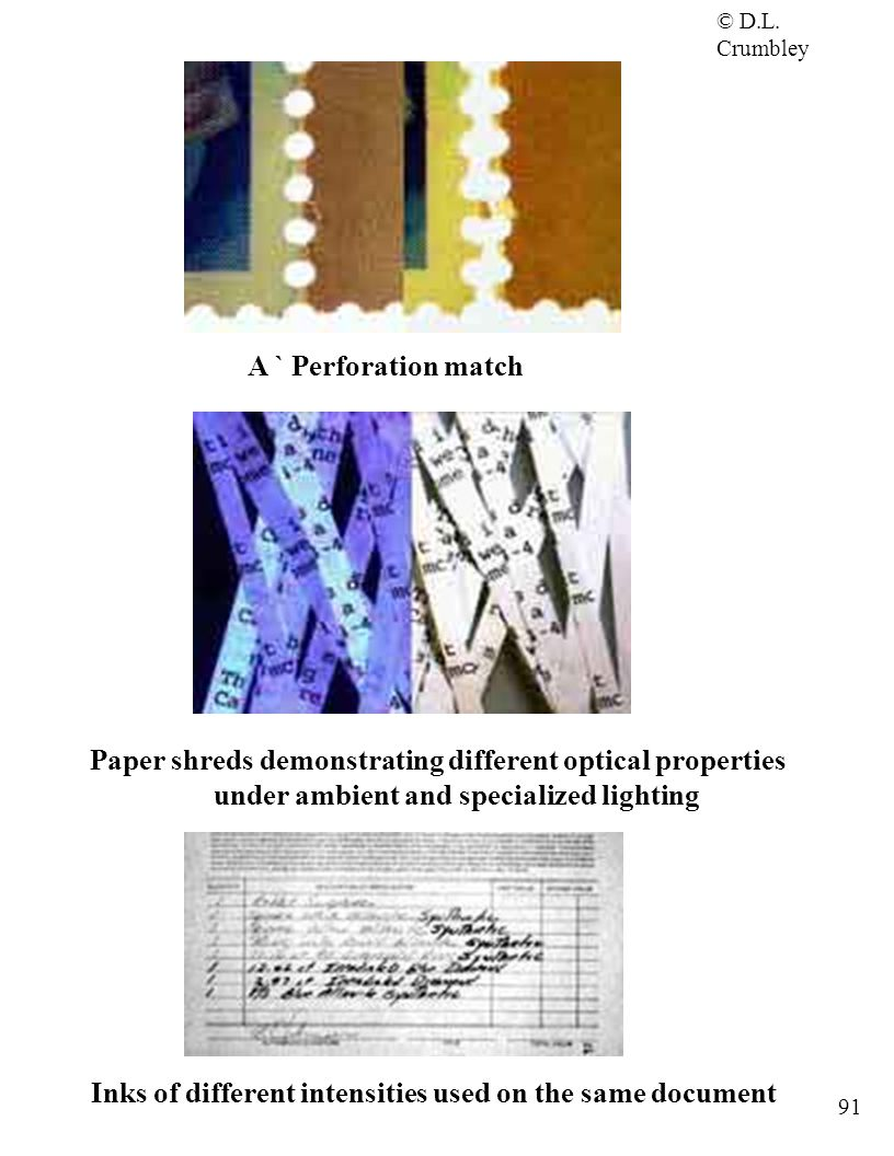 Paper shreds demonstrating different optical properties