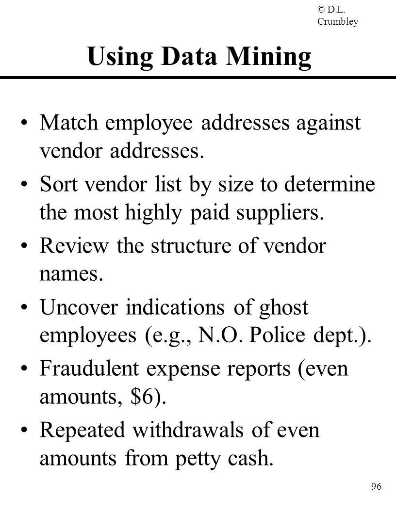 Using Data Mining Match employee addresses against vendor addresses.