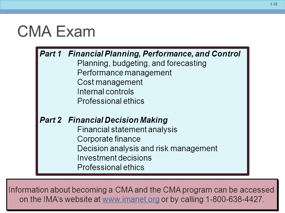 CMA Exam Part 1 Financial Planning, Performance, and Control