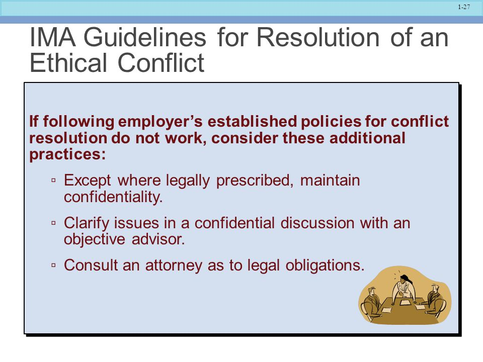 IMA Guidelines for Resolution of an Ethical Conflict