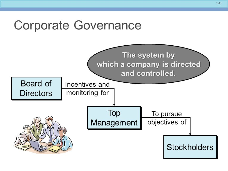 The system by which a company is directed and controlled.