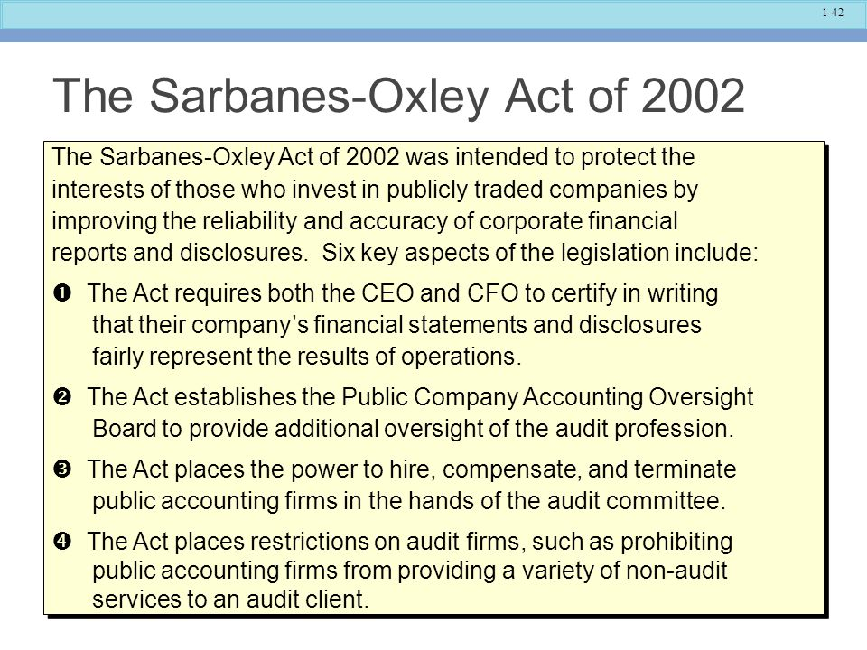 The Sarbanes-Oxley Act of 2002
