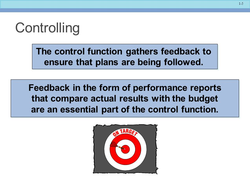 Controlling The control function gathers feedback to