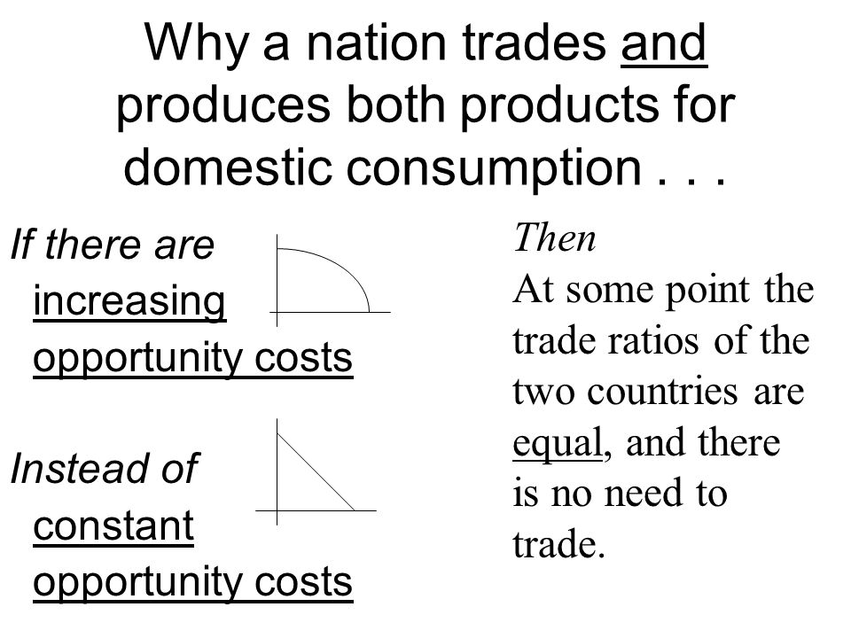 Why a nation trades and produces both products for domestic consumption . . .