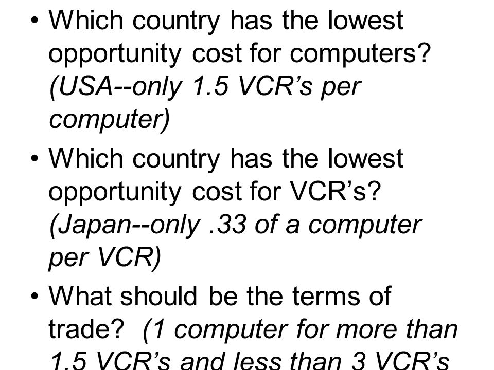 Which country has the lowest opportunity cost for computers