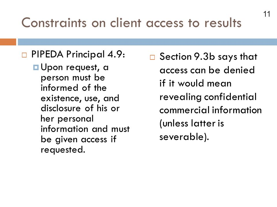 Constraints on client access to results