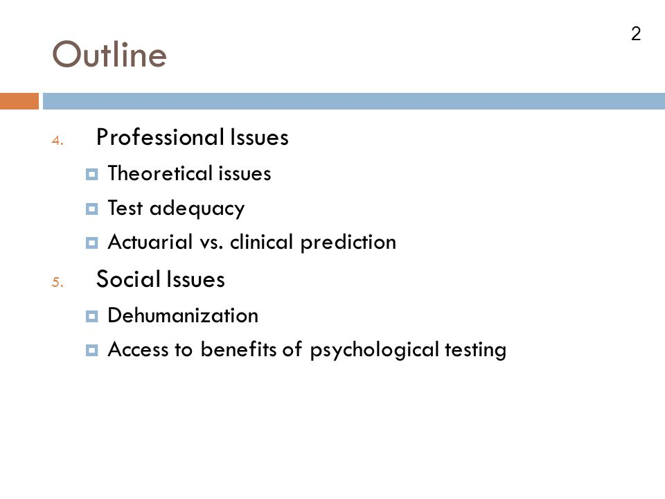 Outline Professional Issues Social Issues Theoretical issues