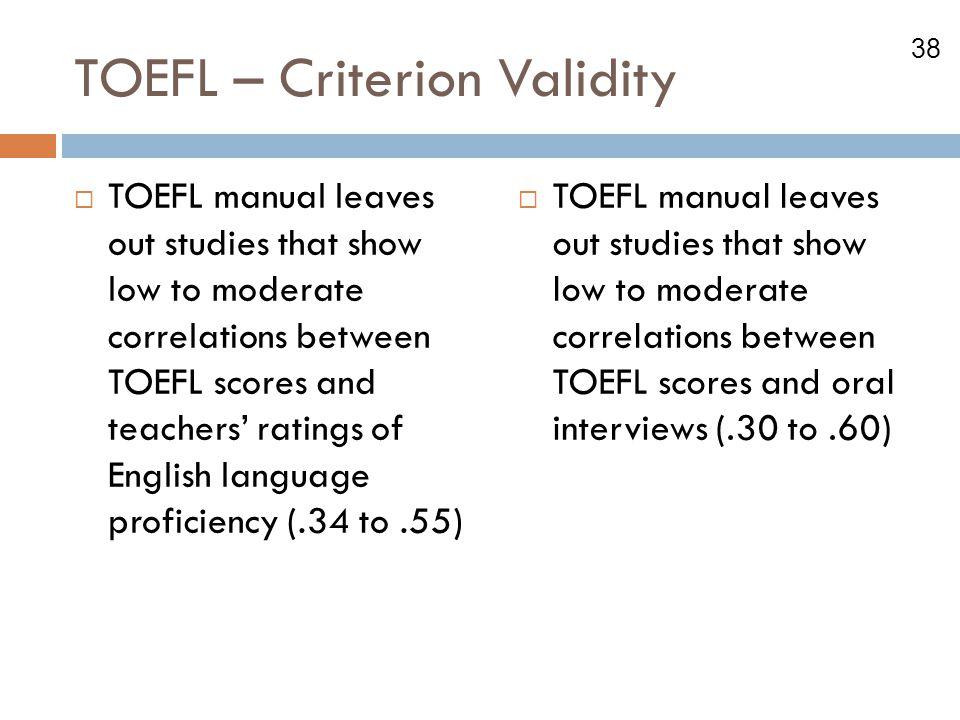 TOEFL – Criterion Validity