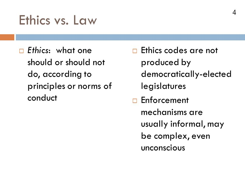 Ethics vs. Law Ethics: what one should or should not do, according to principles or norms of conduct.