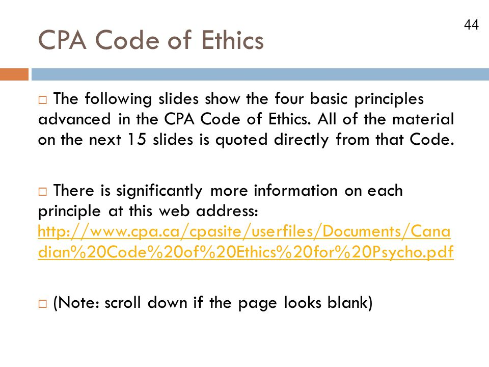 CPA Code of Ethics