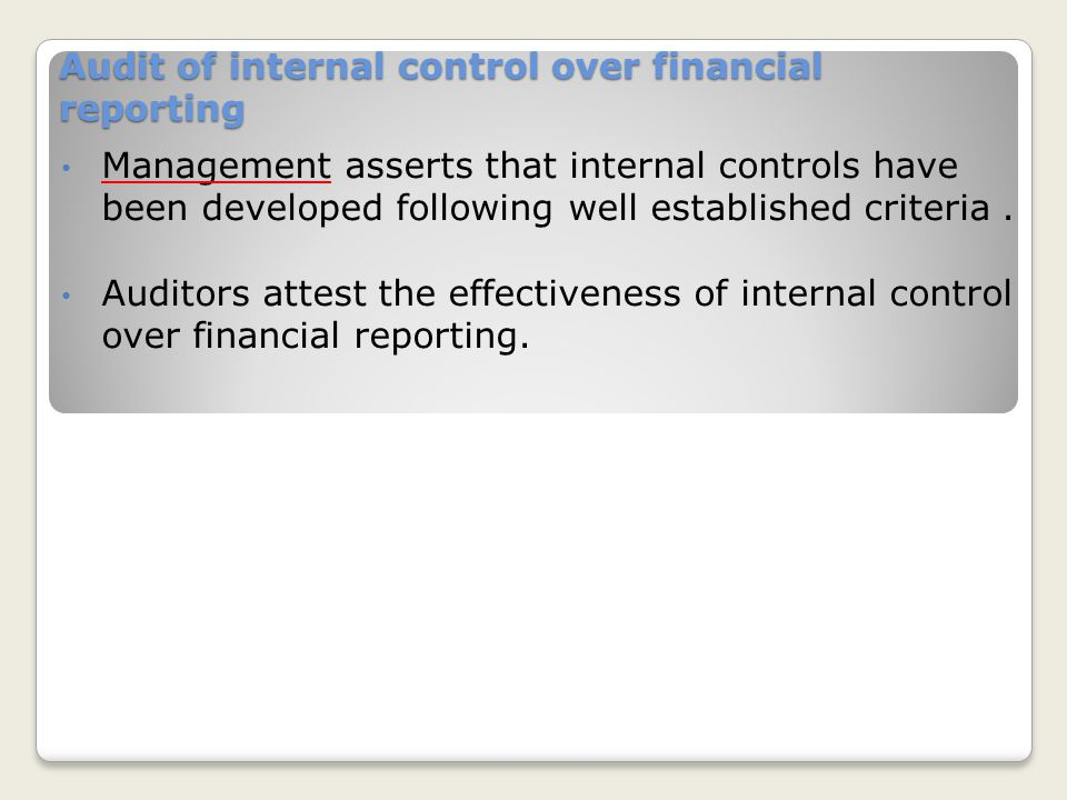 Audit of internal control over financial reporting