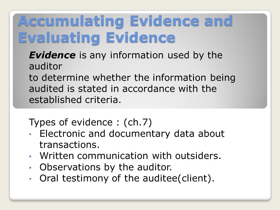 Accumulating Evidence and Evaluating Evidence