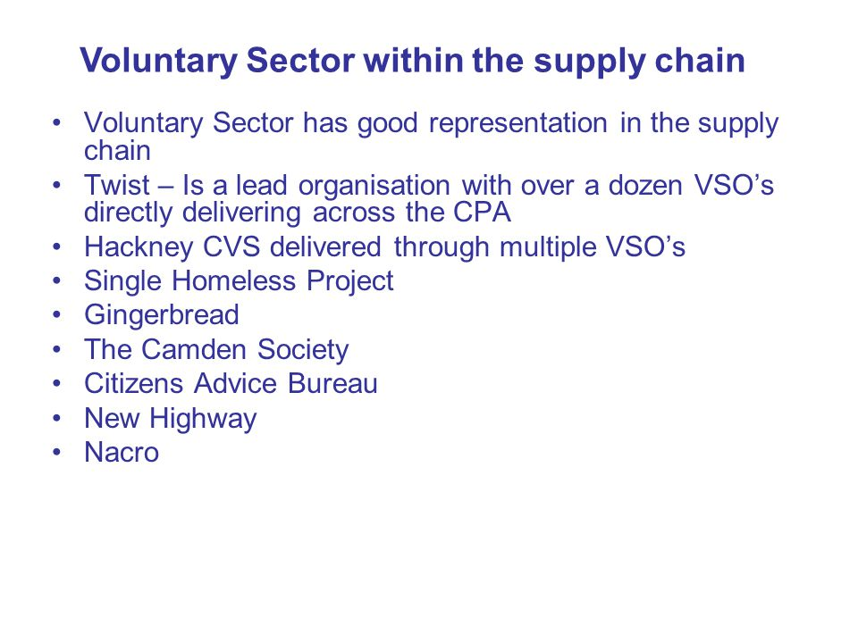 Voluntary Sector within the supply chain
