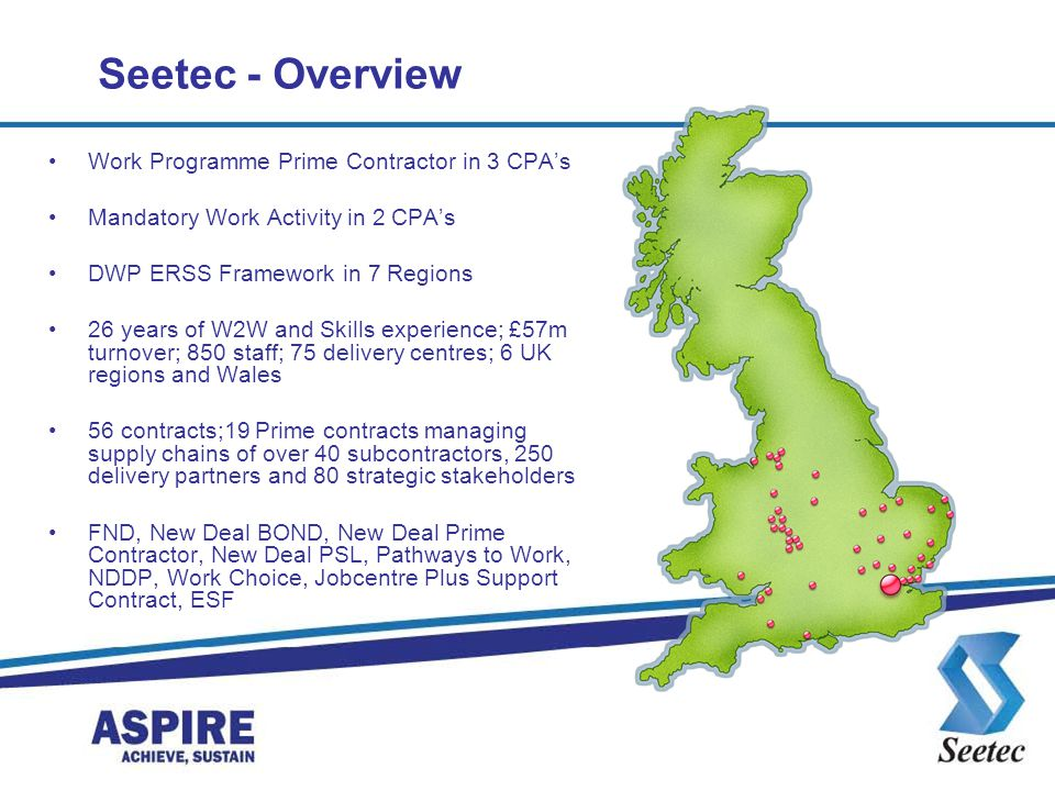 Seetec - Overview Work Programme Prime Contractor in 3 CPA's