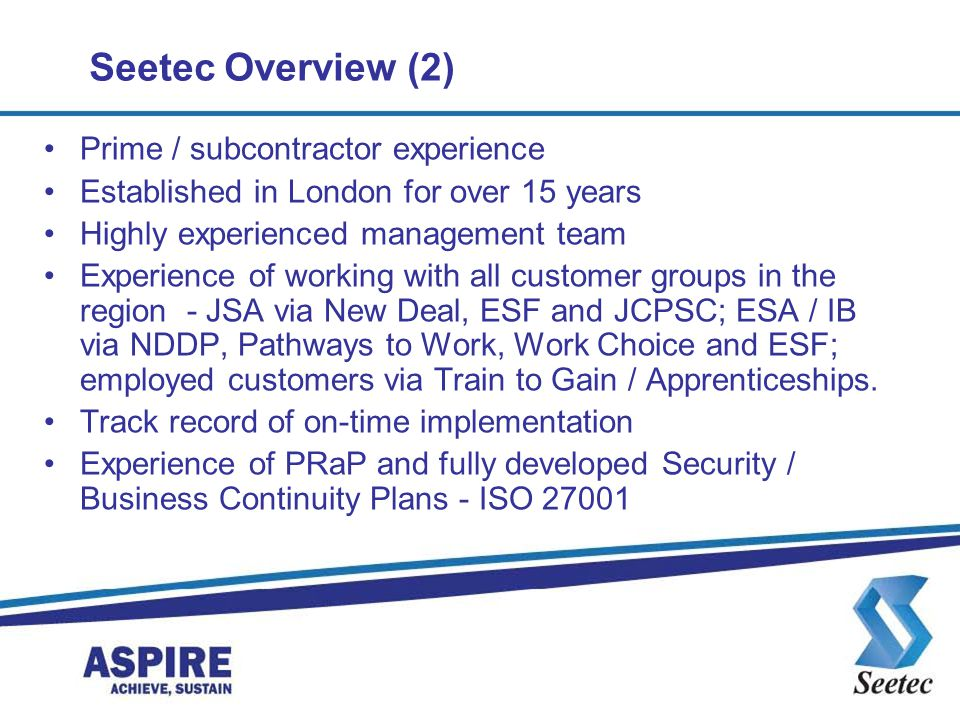 Seetec Overview (2) Prime / subcontractor experience