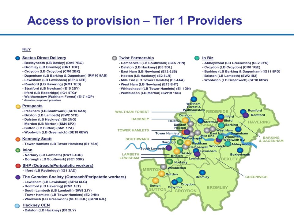 Access to provision – Tier 1 Providers