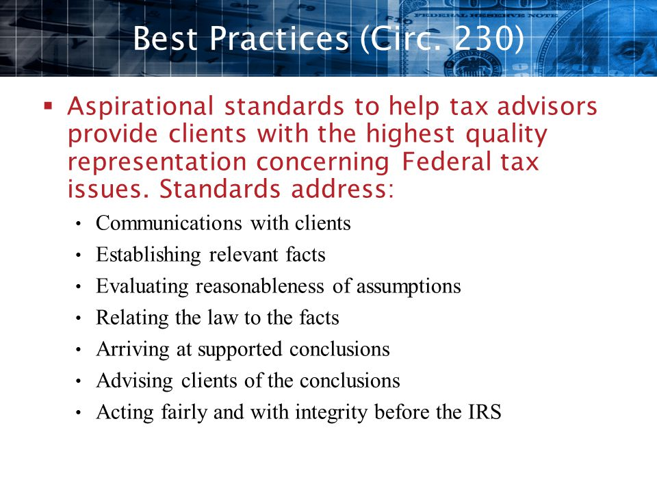 Best Practices (Circ. 230)