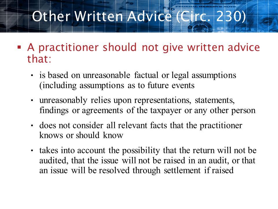 Other Written Advice (Circ. 230)