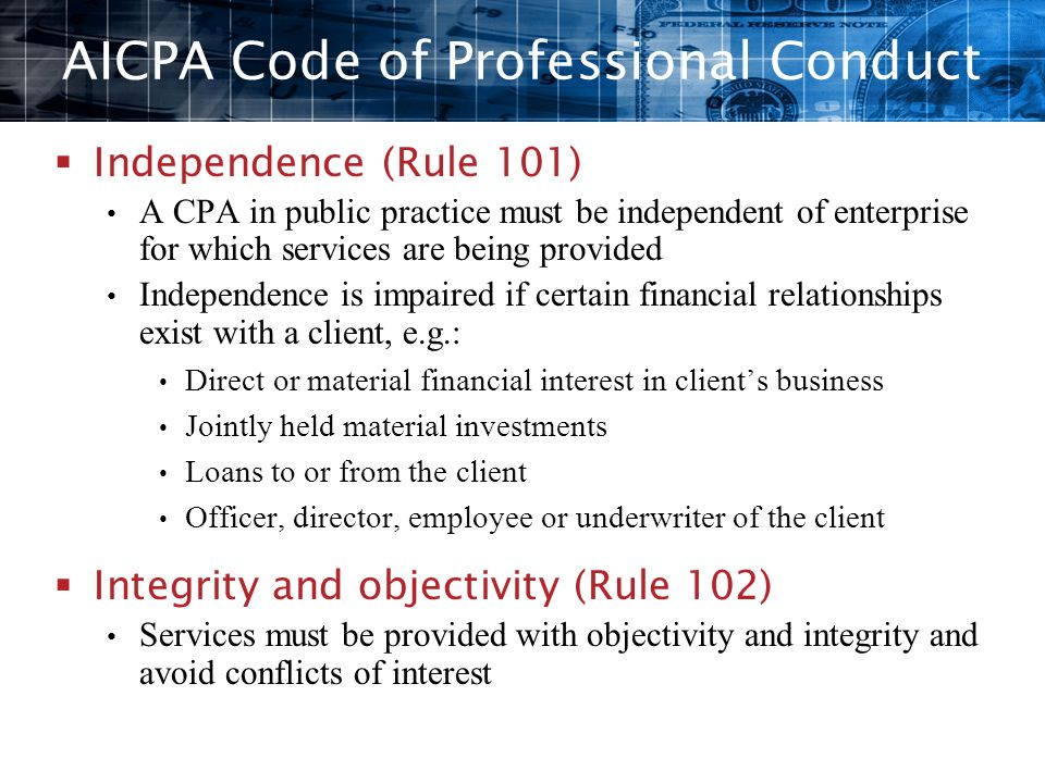 aicpa code of professional conduct Course description this course is based upon the reformatted aicpa code of professional conduct, which is effective december 15, 2014 (the conceptual framework is effective december 15, 2015).