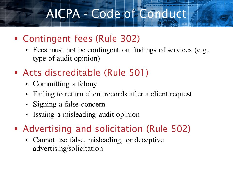 AICPA - Code of Conduct Contingent fees (Rule 302)