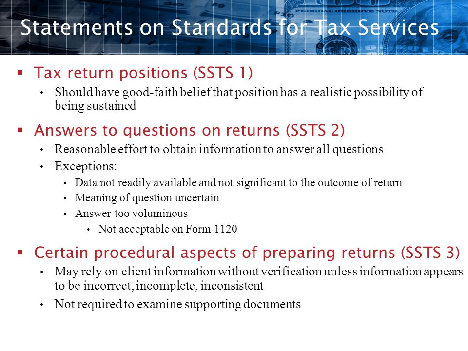 Statements on Standards for Tax Services