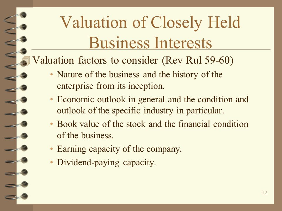 Valuation of Closely Held Business Interests