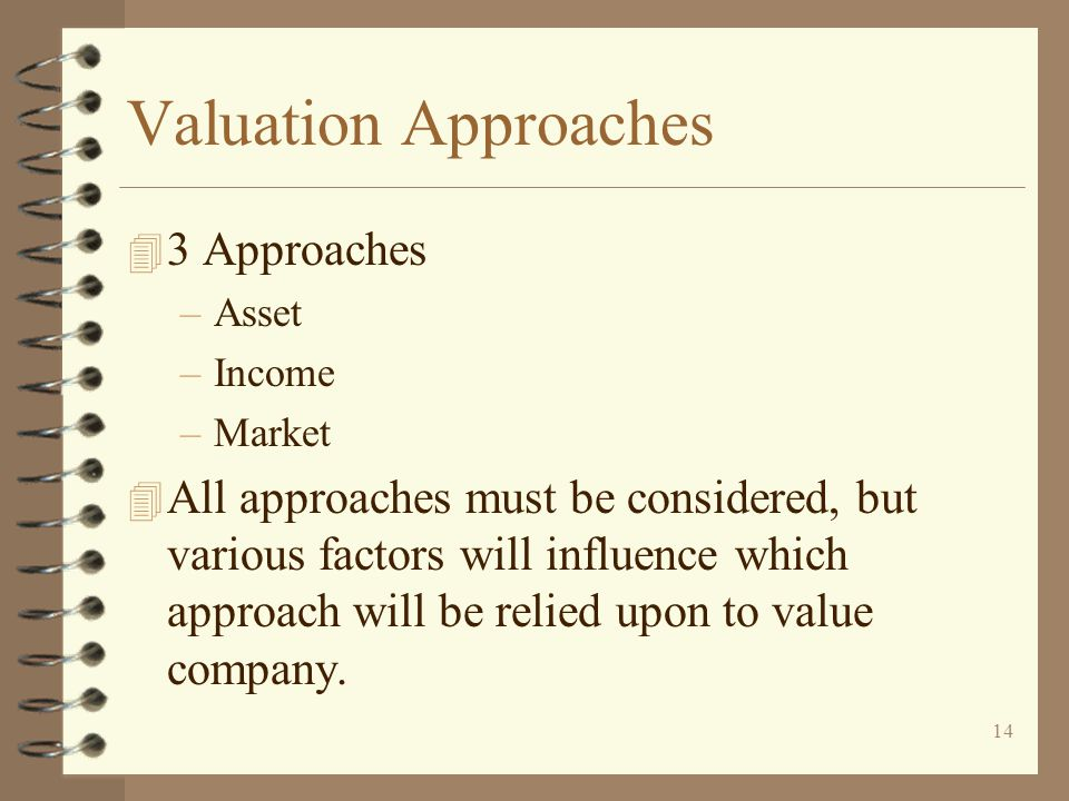 Valuation Approaches 3 Approaches