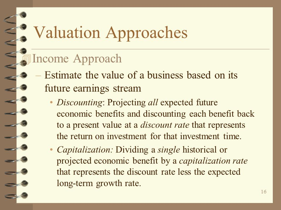 Valuation Approaches Income Approach