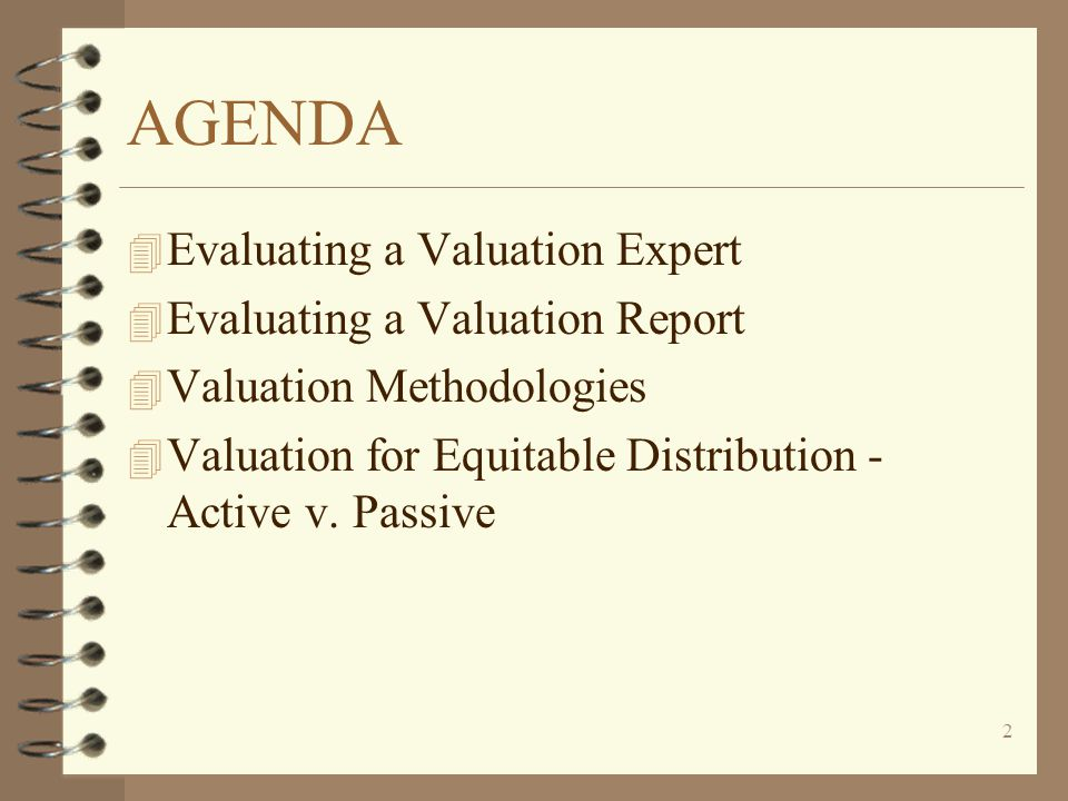 AGENDA Evaluating a Valuation Expert Evaluating a Valuation Report