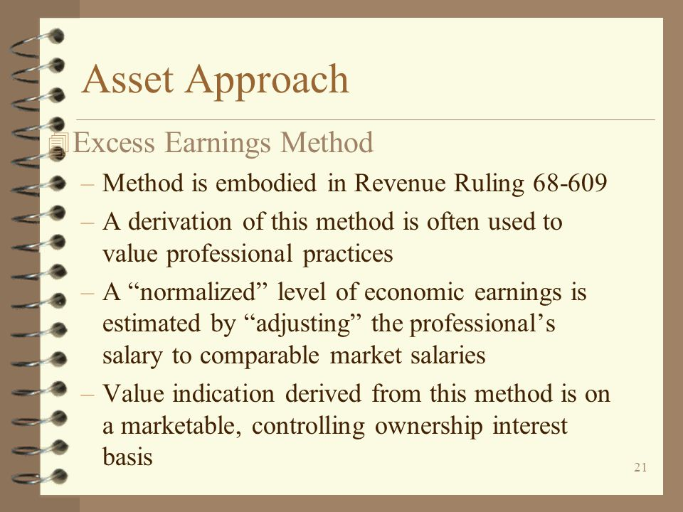 Asset Approach Excess Earnings Method
