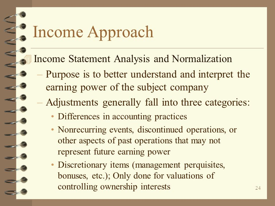 Income Approach Income Statement Analysis and Normalization