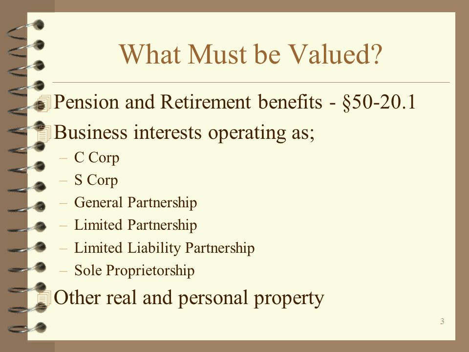 What Must be Valued Pension and Retirement benefits - §50-20.1