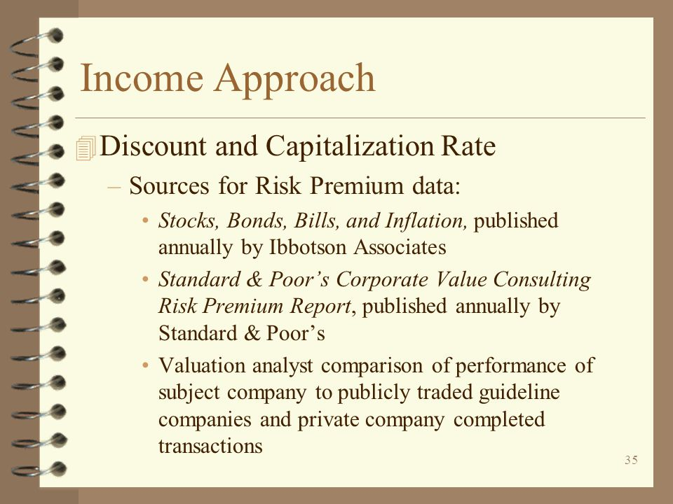 Income Approach Discount and Capitalization Rate