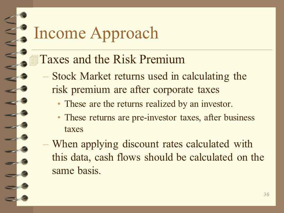 Income Approach Taxes and the Risk Premium