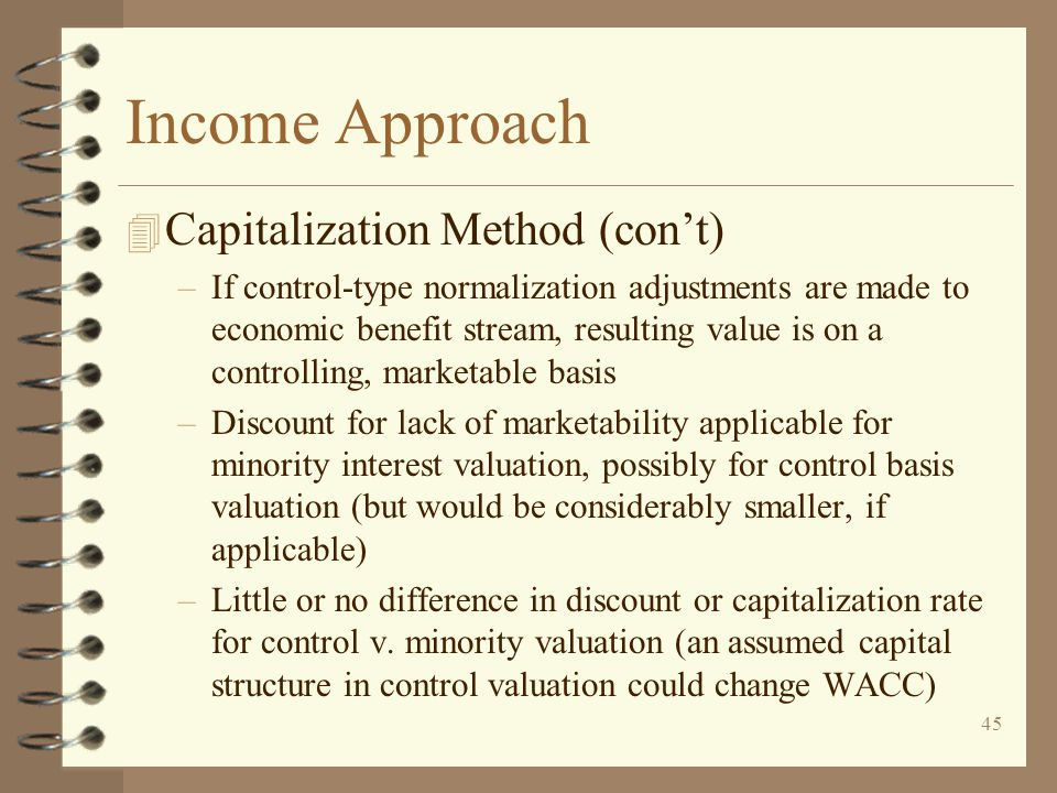 Income Approach Capitalization Method (con't)