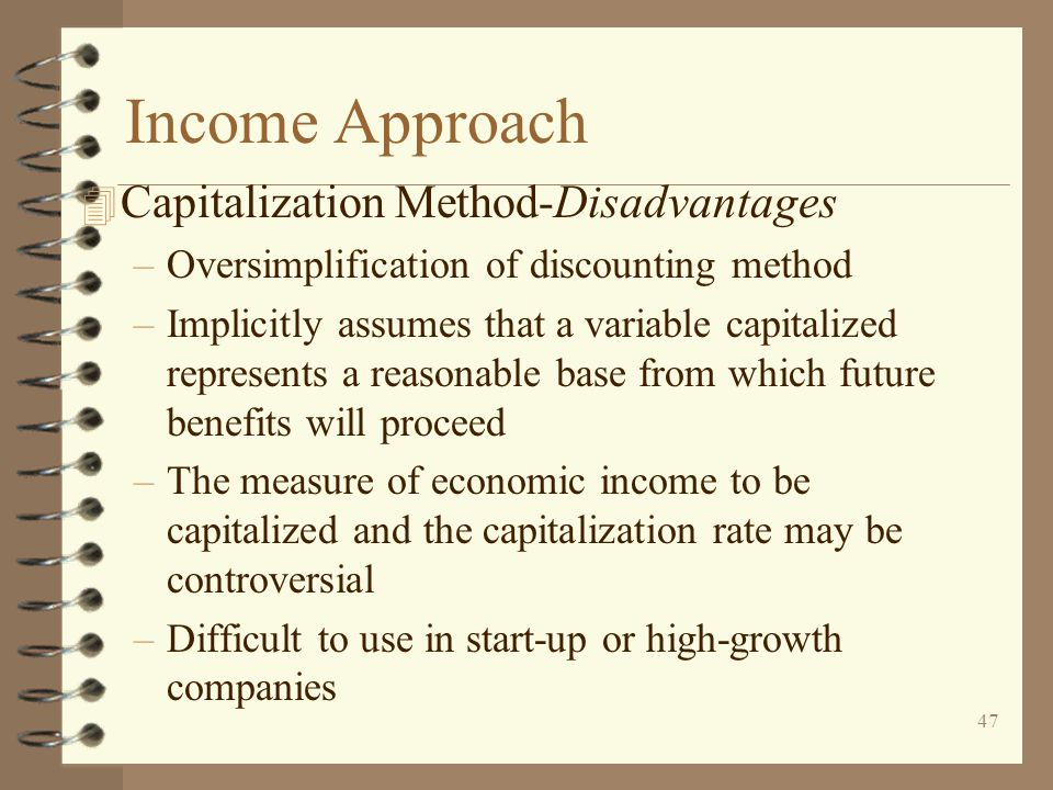Income Approach Capitalization Method-Disadvantages