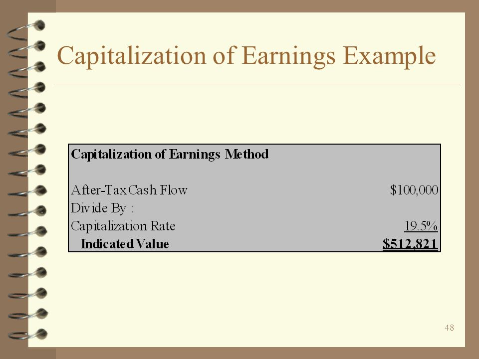 Capitalization of Earnings Example