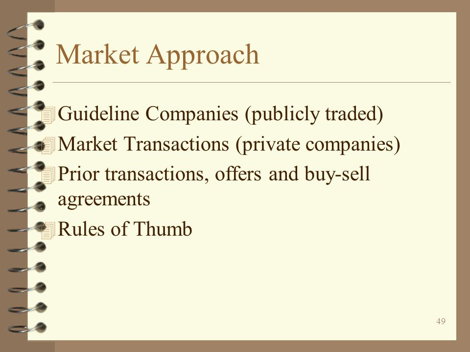 Market Approach Guideline Companies (publicly traded)