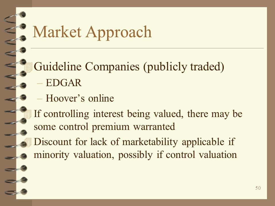 Market Approach Guideline Companies (publicly traded) EDGAR